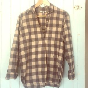 Madewell XS Grey Beige Plaid Flannel Popover